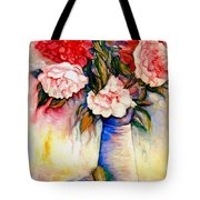 Pink And Red Peony Roses In A Tall Blue Porcelain Vase Tote Bag