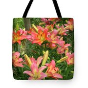 Pink And Yellow Daylilies Tote Bag