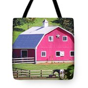 Pink Barn In The Summer Tote Bag
