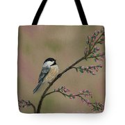 Pink Bud Chickadees - Bird 1 Tote Bag