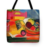 Pink Chair And Pink Plum Tote Bag