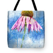 Pink Coneflower On Blue Tote Bag