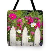 Pink Cosmos Flowers And White Picket Fence Tote Bag