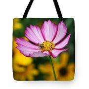 Pink Cosmos Picotee And Bee Tote Bag