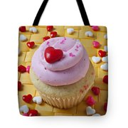 Pink Cupcake With Candy Hearts Tote Bag