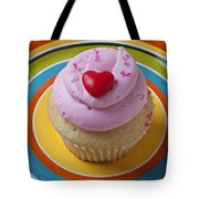 Pink Cupcake With Red Heart Tote Bag