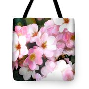 Pink Flowers With Bee Tote Bag