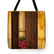 Pink Geraniums Brown Shutters And Yellow Window In Italy Tote Bag