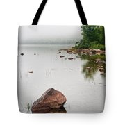 Pink Granite In Jordan Pond At Acadia Tote Bag by Steve Gadomski