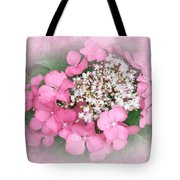Pink Lace Cap Hydrangea Flowers Tote Bag