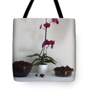 Pink Phalaenopsis Orchid And Sour Cherries Tote Bag