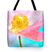 Pink Poppy On Blue Tote Bag
