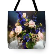 Pink Roses And Purple Delphinium Tote Bag