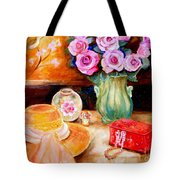 Pink Roses In A Green Vase With A String Of Pearls And A Pretty Summer Straw Hat  Tote Bag