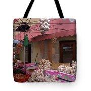 Pink Umbrella And Garlic Tote Bag