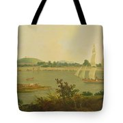 Pinnace Sailing Down The Ganges Past Monghyr Fort Tote Bag