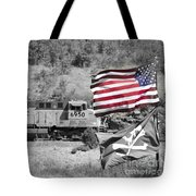 Pirates And Trains Black And White Tote Bag