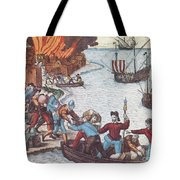 Pirates Burn Havana, 1555 Tote Bag by Photo Researchers