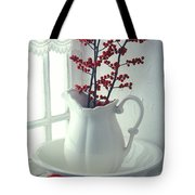 Pitcher With Red Berries  Tote Bag