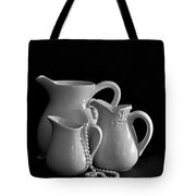Pitchers By The Window In Black And White Tote Bag