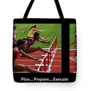 Plan Prepare Execute With Caption Tote Bag