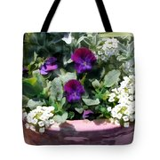 Planter Of Purple Pansies And White Alyssum Tote Bag