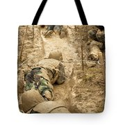 Plebes Navigate The Low Crawl Obstacle Tote Bag