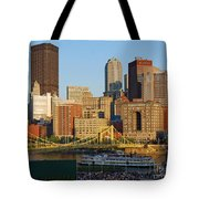 Pnc Park And River Boat Tote Bag