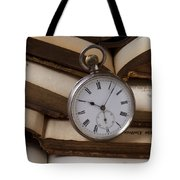 Pocket Watch On Pile Of Books Tote Bag