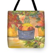 Poinsettias Holly And Table Fruit Tote Bag