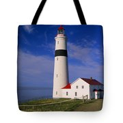 Point Lamour Lighthouse Overlooking Tote Bag
