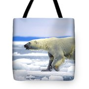 Polar Bear Running On An Ice Flow Tote Bag