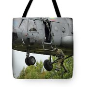 Polish Special Forces Member Fast-ropes Tote Bag