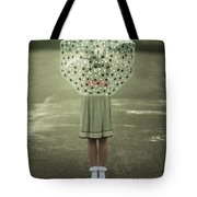 Polka Dotted Umbrella Tote Bag