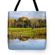 Pond And Cattle Near Mansonville Tote Bag
