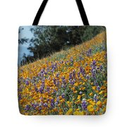 Poppies And Lupine Flowers Blanket Tote Bag