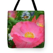 Poppies And Pollinator Tote Bag
