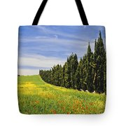 Poppies And Wild Flowers In Wheat Field Tote Bag