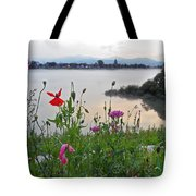 Poppies By The River Tote Bag