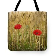 Poppies  In A Field Of Barley Tote Bag