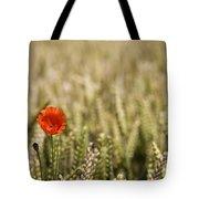 Poppy Flower In Field Of Wheat Tote Bag by John Short