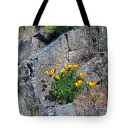 Poppy On The Rocks Tote Bag