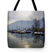 Port With Snow-capped Mountain Tote Bag