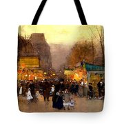 Porte St Martin At Christmas Time In Paris Tote Bag
