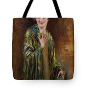 Portrait Of A Girl With A Green Shawl Tote Bag