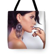 Portrait Of A Woman Wearing Jewellery Tote Bag