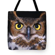 Portrait Of Great Horned Owl Tote Bag