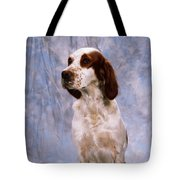 Portrait Of Irish Red And White Setter Tote Bag