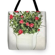 Pot Of Red Roses On Lace Background Tote Bag