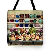 Pots And Birdhouses Tote Bag